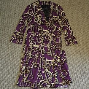 GUCCI horsebit printed purple wrapped Dress